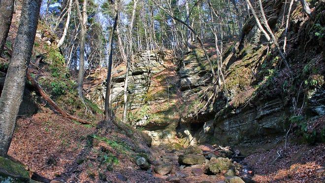 Sandstone and quartzite boulders dot the narrow gorge at Parfrey's Glen near Baraboo.