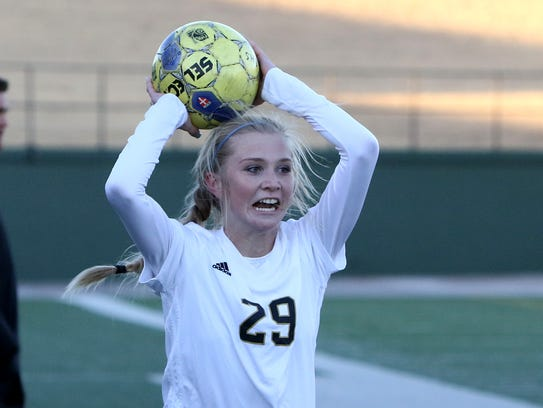 Rider's Mindy Shoffit scored a goal Tuesday in the Lady Raiders' 3-0 win at Sherman. The Lady Raiders face WFHS Friday at Memorial Stadium.