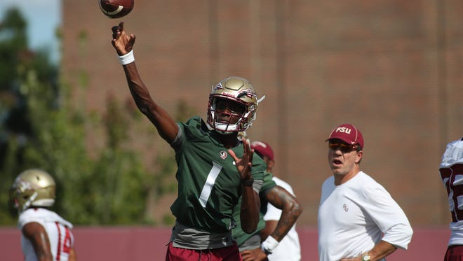 FSU's James Blackman throws the ball during their fall practice at the Dunlap Training Facility on Tuesday Aug. 1, 2017.