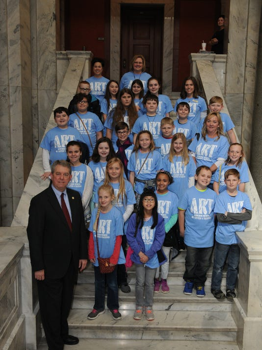 Henderson County Gifted and Talented Students work displayed in Frankfort