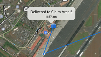 This image provided by Delta shows an example of what fliers will see when they look at the bag-tracking map view on Delta's app.