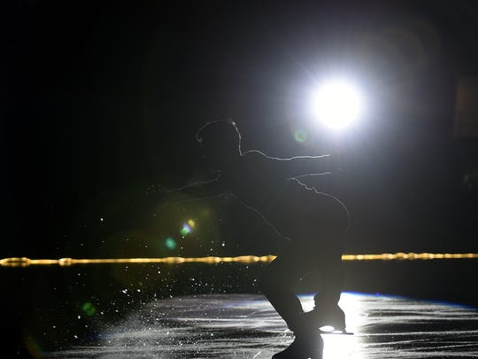 """Daniel Samohin skates during """"Ice Dreams 2018"""" for the 20th anniversary celebration of the Ice House on Saturday January 27, 2018."""