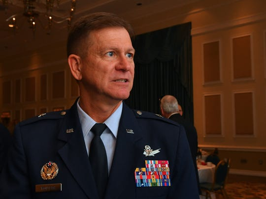 Brig. Gen. Wayne Monteith, retiring commander of the 45th Space Wing and director of the Eastern Range, speaks during a National Space Club luncheon in January in Cape Canaveral.