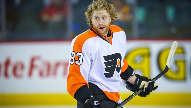 Mar 19, 2015; Calgary, Alberta, CAN; Philadelphia Flyers right wing Jakub Voracek (93) skates during the warmup period against the Calgary Flames at Scotiabank Saddledome. Mandatory Credit: Sergei Belski-USA TODAY Sports