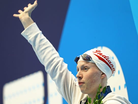 Lilly King reacts after winning the women's 50-meter breaststroke during the 2017 USA Swimming Phillips 66 National Championships at IU Natatorium.