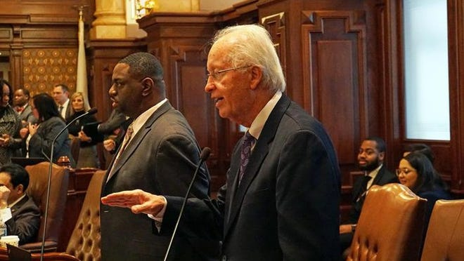 State Sen. Terry Link, D-Indian Creek, speaks on the Senate floor during last year's legislative session. Facing federal charges, he resigned his Senate seat effective Saturday, Sept. 12.