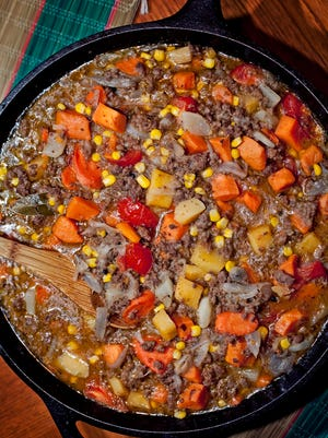 Bison and elk, along with eight different vegetables, mingle deliciously in this stew.