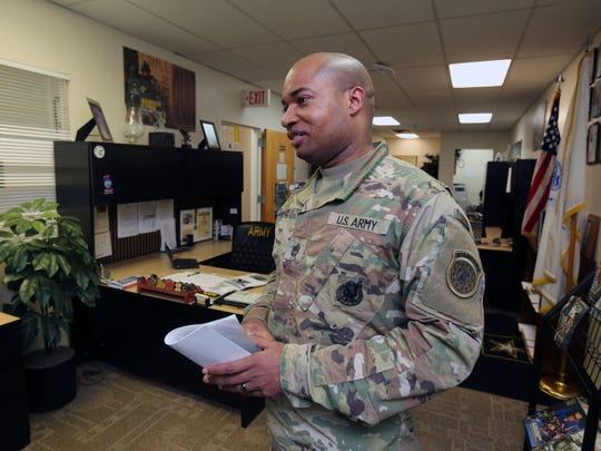 Army recruiting center leader SFC. Oneil Findlay is pictured at the Army Career Center on Gramatan Avenue in Mount Vernon, March 7, 2017.
