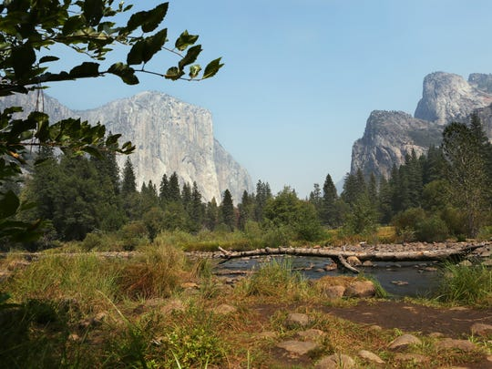 A scenic view of El Capitan (left) and the Cathedral Rocks, seen from Valley View in Yosemite National Park on Aug. 22, 2015.
