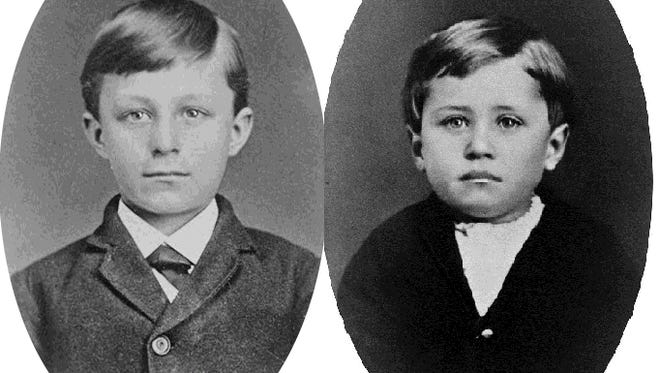 Wilbur and Orville Wright and their parents lived in Richmond 1881-84. When they moved here, the boys were 14 and 10 years of age respectively. This 1876 image, when Wilbur was nine and Orville was five, was taken five years before they came to Richmond.