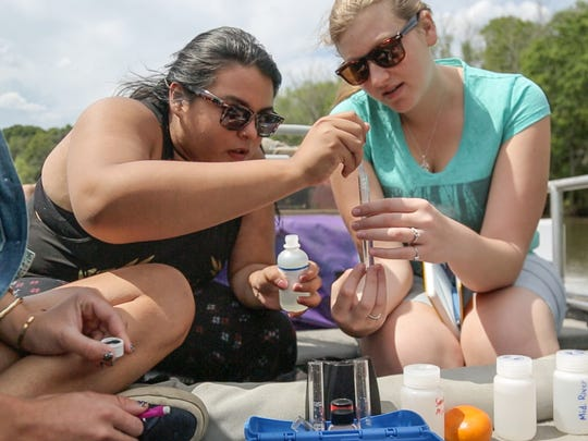 FSU students test water samples on a trip to study the Apalachicola River