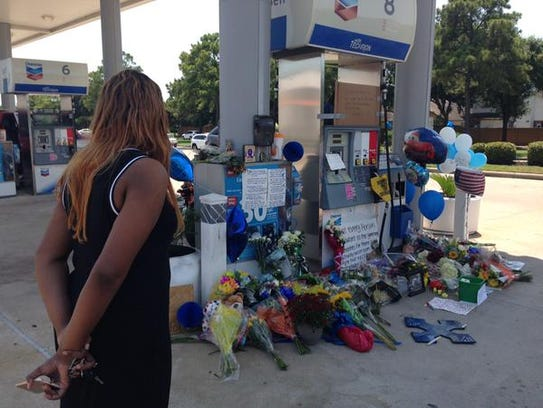 Flowers were left at the site where Harris County Deputy