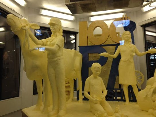 The butter sculpture was unveiled this morning at the