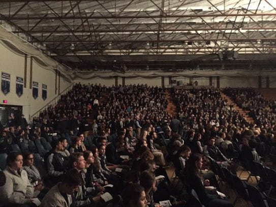 SUNY Geneseo students pack Kuhl Gymnasium for a memorial