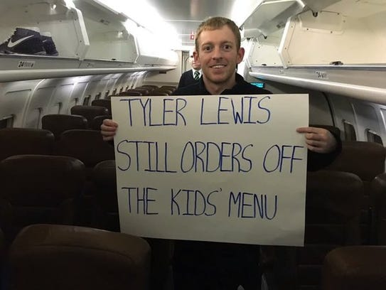 Two years ago, Butler guard Tyler Lewis liked a sign from Seton Hall's Sign Mafia so much, he took it home.
