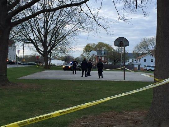 York City Police cordon off an area where a shooting