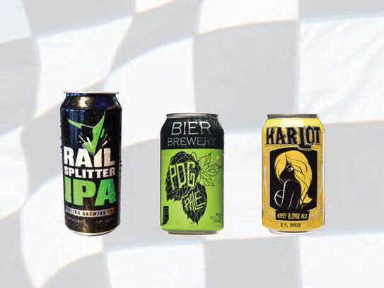 Row 10, from left, Railsplitter IPA, PDG pale ale,