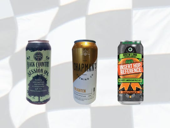 Row 11, from left, Back Country session IPA, Enlighten