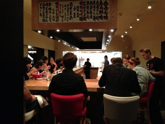 The ramen bar at Ippudo in midtown Manhattan.