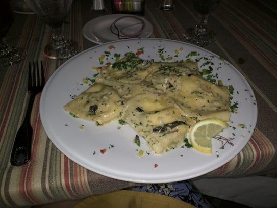 Scampi Grill's mushroom ravioli.