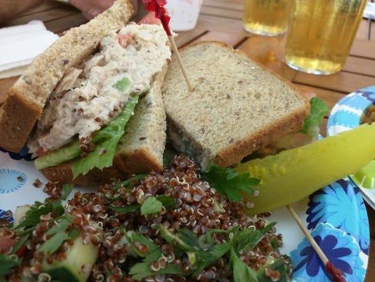 Sealantro's thick tuna salad sandwich with lettuce