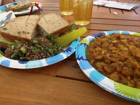 Sealantro's tuna sandwich and curried cauliflower and