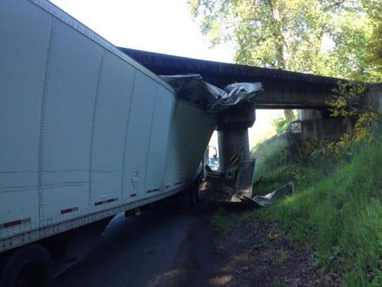 A stuck semi truck