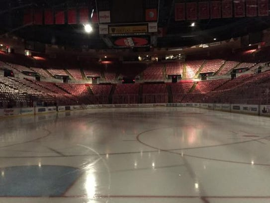 Joe Louis Arena, where the Detroit Red Wings play,