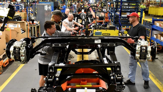 The Ford F-650/F-750 medium-duty trucks roll off the line in August 2015 for the first time in the U.S. Production of the trucks at Ohio Assembly Plant, previously built in Mexico, helps secure more than 1,000 hourly UAW jobs and a $168 million plant investment in the United States.