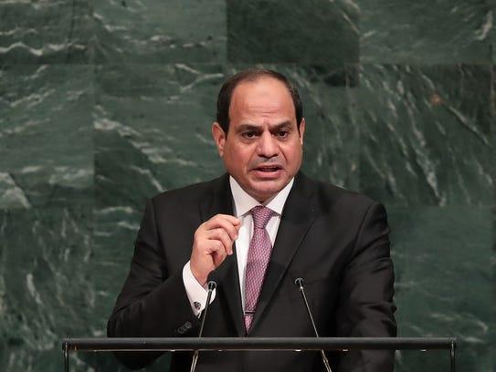 Egyptian President Abdel Fattah al-Sisi, addresses