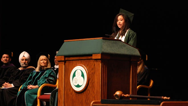 Risa Scharf served as the student speaker during the university'sfirst-ever alternative graduation ceremony for observant Jewish students.