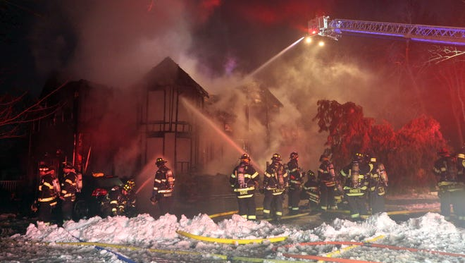 A large house was destroyed by fire on Orangeburg Road in Pearl River Jan. 8, 2018.