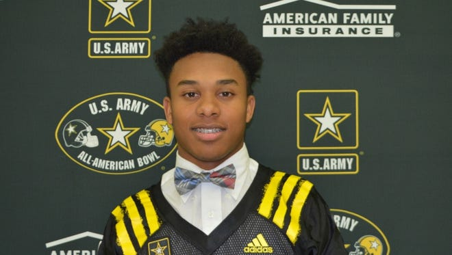 Trinity's Rondale Moore received his jersey for the U.S. Army All-American Bowl during a ceremony Wednesday at Trinity.