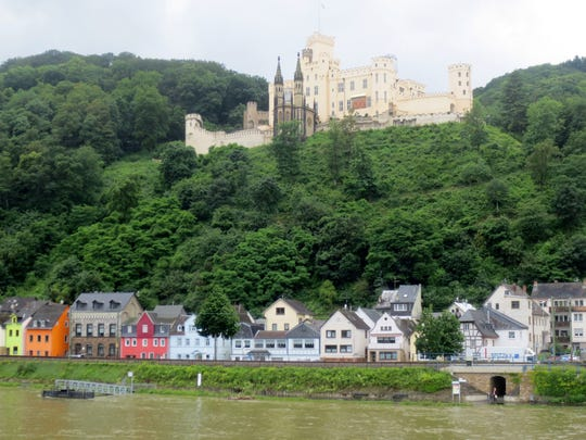 The Marksburg Castle overlooks the town of Braubach, Germany, on the Rhine River Gorge.