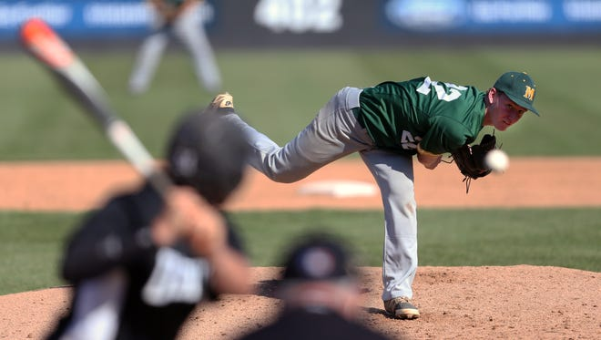 Ridge vs. Montgomery in the Somerset County Tournament baseball semifinals at TD Bank Park Ball in Bridgewater on Thursday May 12, 2016.Montgomery pitcher # 22 Matthew Ryan on the mound.