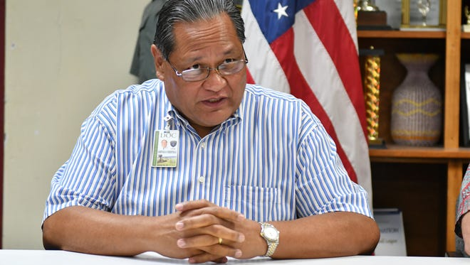 """Alberto """"Tony"""" Lamorena V, director of the Department of Corrections, speaks during a press conference at the prison on Sept. 19, 2017."""