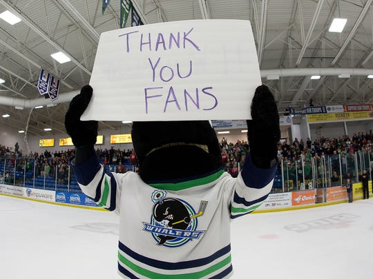 Plymouth Whalers' mascot Shooter displays a special
