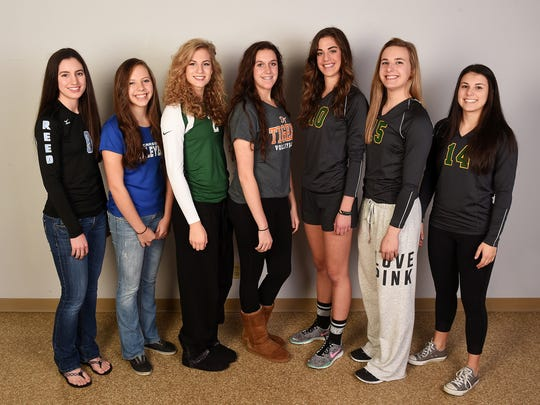The RGJ All-North Division I volleyball first team, from left, Emilie Braun, Reed; Jaycie Roberts, Carson; Meagan Carlson, Damonte Ranch; Carmen Shaw, Douglas; Katelyn Oppio, Bishop Manogue; Julia Wenzel, Bishop Manogue; and Mikaela DeRicco, Bishop Manogue.