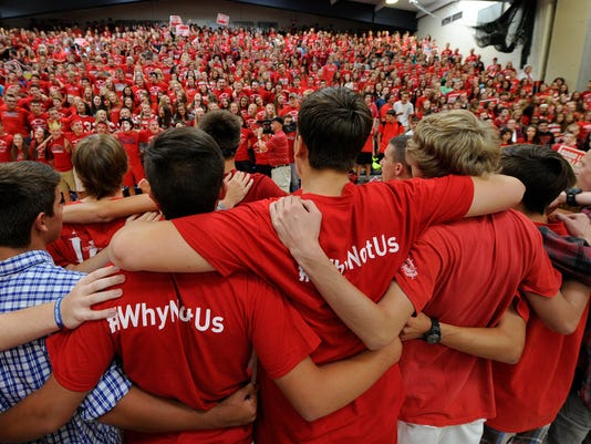 The fans of the Red Land little league team come together to sing the high school alma mater during the pep rally held for the team at the Red Land High School on Friday, August 28, 2015.  Jason Plotkin - Daily Record/Sunday News