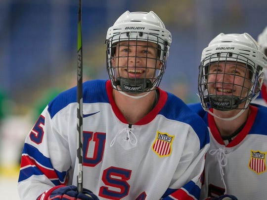 Birmingham's Bode Wilde, a defenseman for the U.S.