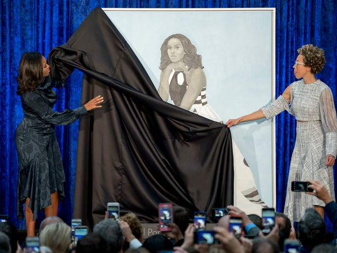 Former first lady Michelle Obama and Artist Amy Sherald,