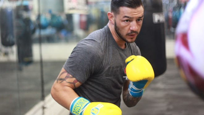 """Kevin """"Cub"""" Swanson during a training session at Indio Boys and Girls Club on June 29, 2016. He will fight Tatsuya Kawajiri in August."""