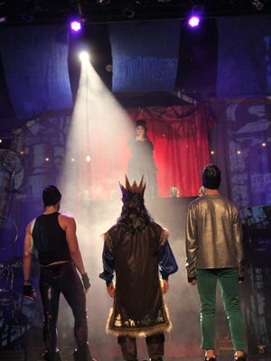 "Nora Vellis, top, as The Leading Player, addresses, from left, Andrew Gilliland (Lewis), Greg Fortson (Charles) and Christian Winter (Pippin) in the Historic Paramount Theatre's production of ""Pippin."""