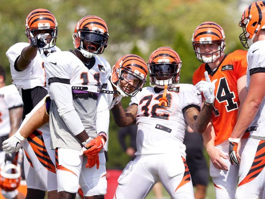 Bengals players, A.J. Green, left, Brandon LaFell,