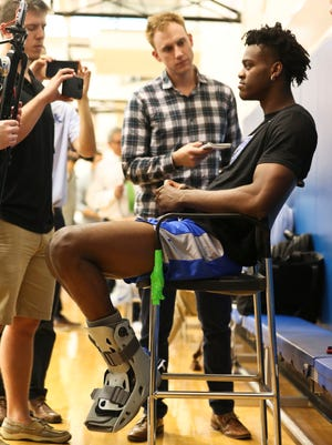 Kentucky forward Jarred Vanderbilt talks about his injured foot during media day in Lexington.