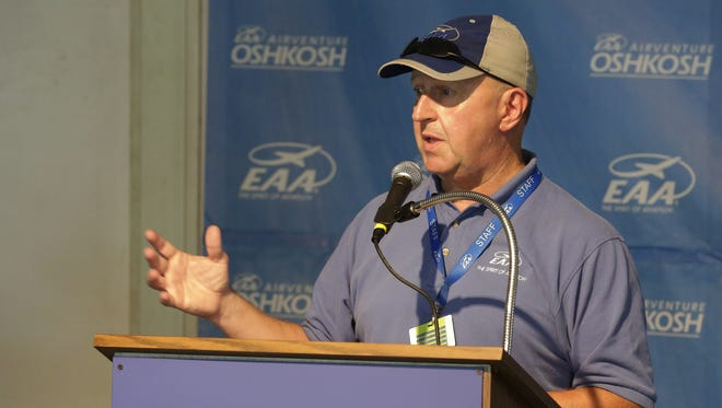 Dick Knapinski of EAA Communications talks during a press conference in Oshkosh Friday about the Thursday night plane crash near EAA Seaplane Base crash on Lake Winnebago.