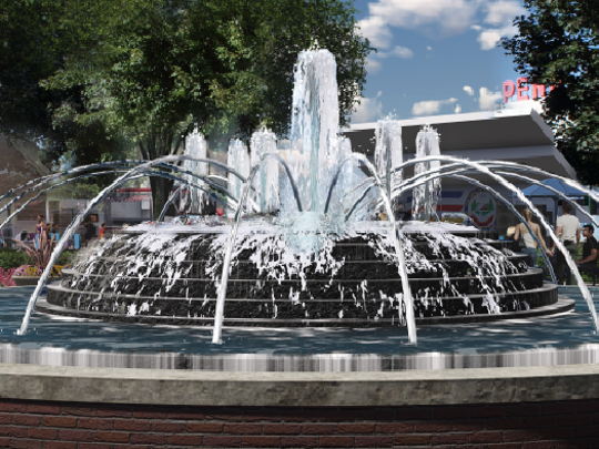 A redesigned Kellogg Park fountain would be 35 feet in diameter with an 18-inch wall, have a dome in the center and a six-foot water jet encircled by smaller jets.
