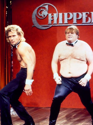 Chris Farley died from a drug overdose in 1997 at the age of 33.  He delivered an unforgettable performance in a 1990 skit opposite Patrick Swayze where the two vied for a spot as a Chippendales dancer.