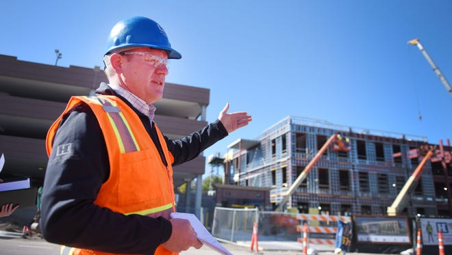 President of Henry Carlson Construction Jerry Fromm talks about the new City Administration building Tuesday, Oct. 17, near the intersection of West 8th street and North Dakota Avenue in Sioux Falls.