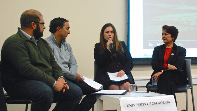 Carina Chavez, center, who works in the office of Congressman Jimmy Panetta, speaks during a panel discussion Friday at the National Steinbeck Center. With her are Brian Antle, left, of Tanimura & Antle, Tom Nunes of the Nunes Company, and, right, State Assemblywoman Anna Caballero.
